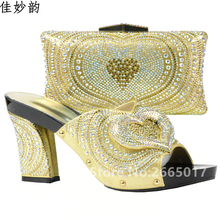 New Arrival Gold Color Shoes and Bag Set Decorated with Rhinestone High Quality Matching Italian Shos and Bag Set for Wedding