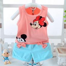 Baby 2017 summer children clothing sets boys girl suit mickey minnie mouse T shirts + shorts ensemble fille For 1 2 3 4 5 6 Year