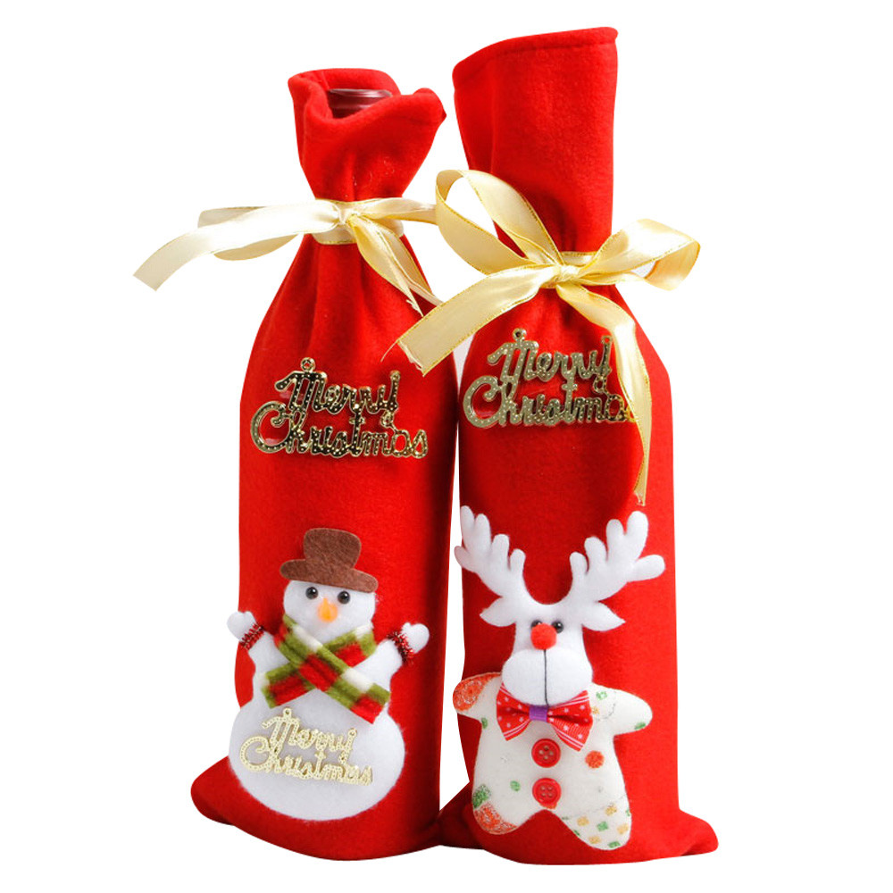 Christmas Wine Set Bottle Cover Bags Decoration Home Party Cloth+Velvet Santa Christmas Xmas Decoration Navidad 2017 Arbol@T30(China)