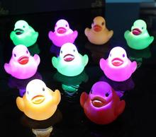 bath toys led water light glowing ducks flash glitter duckling baby bathing duck floating shiny Bathroom 20pcs/(China)