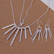 925 jewelry silver plated jewelry set, 925-sterling-silver fashion jewelry set Five Rods Pillars Earrings Necklace S159 cqmalhta