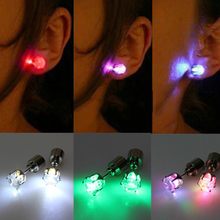 2016 Hot sell Light Up Stainless Steel Earrings Led Ear Studs Dance Party Accessories 88XB