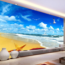 Custom Beach Scenery Starfish Blue Sky 3D Photo Background Computer Printed Living Room TV Photography Backdrop Mural Wallpaper(China)