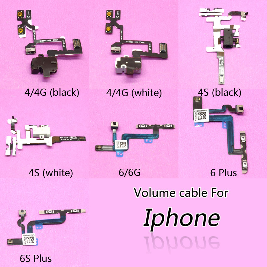 Brand NEW Volume Button Flex Cable power on off volume control button Replacement Parts For iphone 4 4G 4S 6 6S 6S Plus(China)