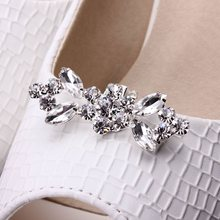 1 Pair Shiny Tone Crystal Boots Shoe Clips Buckle Silver Plated Bridal High-Heel Wedding Shoes Decoration Buckle Clip Charms(China)