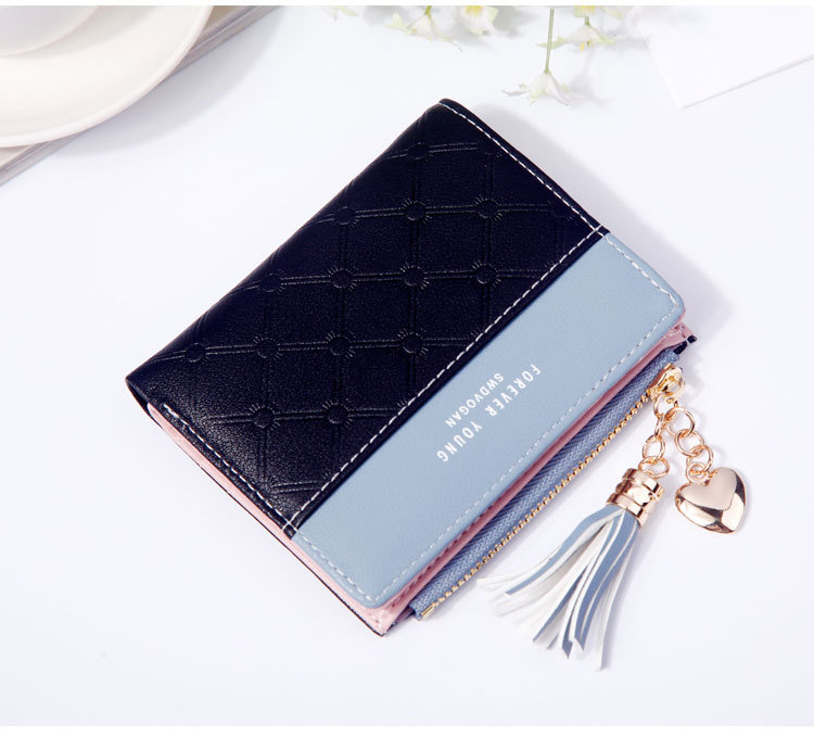 2018 Fashion Ladies Wallet Female Short Zipper Coin Purse Small Wallets Young Womens Tassel Hasp Purses Button Card Holder Pouch 76