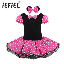 Kids Girls Minnie Mouse Dress Dotted Christmas Gift Halloween Party Cosplay Costume Girl Ballet Tutu Dress + Ear Headband 12M-8Y