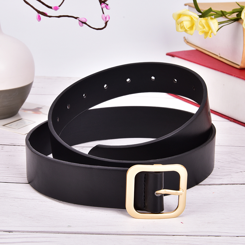 New Gold Square Metal Belt For Women Gold White PU Leather Waist Belts Female Jeans Pants Parts Wholesale