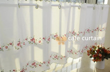 Flower Coffee Shop Curtain Embroidery Cabinets Short Half Curtain  Kitchen Room Bar Cafe Curtain Decoration