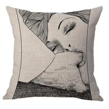 Free Shipping Custom 2017 New Married Couple Lovers Cushion Cover Home Bedside Chair Backrest Cushion Cover In Sex(China)