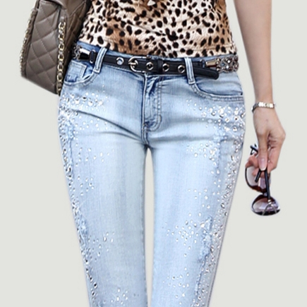 new Jeans woman rhinestones pencil jeans wash denim jeans trousers skinny fashion pantsОдежда и ак�е��уары<br><br><br>Aliexpress