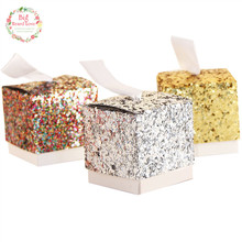 Big Heard Love 25pcs Glitter Diamonds Color Wedding Box Candy Box Sheet Metal Wedding Favors Gift Box Wedding Decoration