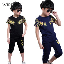 V-TREE Summer Teenagers Boys Clothing Sets Cotton Fashion Suit Sets For Boy School Kids Sports Clothes Tracksuit 8 10 12 Years