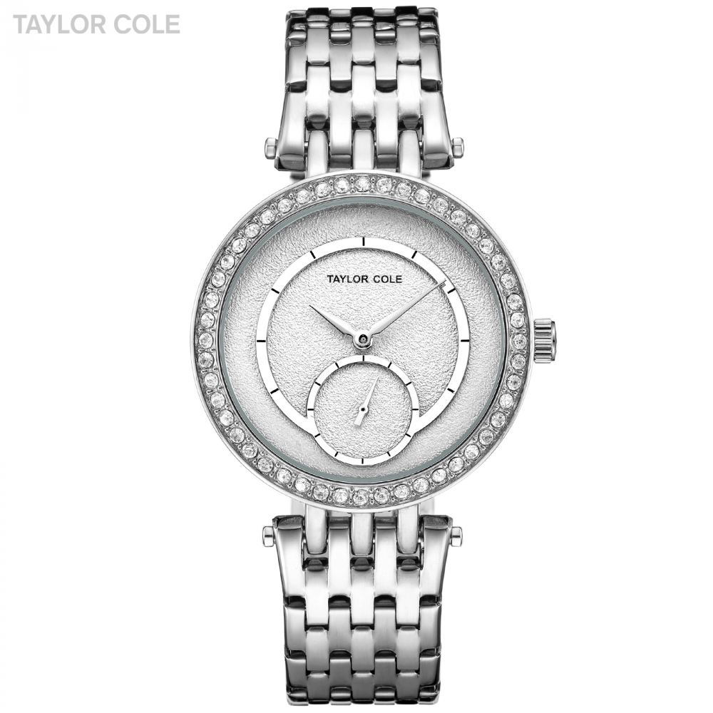 Casual Taylor Cole Wrist Watches for Women Reloj Mujer Date Silver Crystal Steel Band Clock Women Watches Orologio Donna/TC136<br>