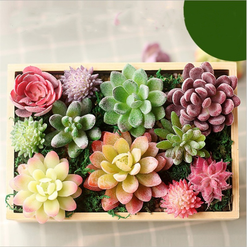 miniatures Home Simulation meat flocking plants Mini Succulents Plastic Artificial Plants Tree Garden Miniature Home Decor 85