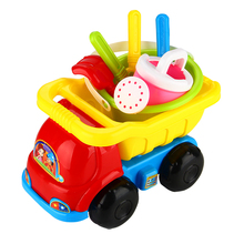 Kids Summer Beach Truck Car Toy Sand Dredging Watering Play Toys Colorful Cars Set With Sand Funnel Shovel Rake For Sea Bany Toy