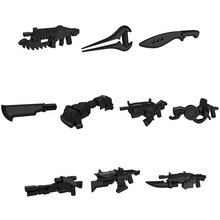 10pcs/lot POGO Star Trek Halo Science Fiction Black Sniper Rifle Submachine Gun Star Wars Weapons Part Building Block Kids Toys