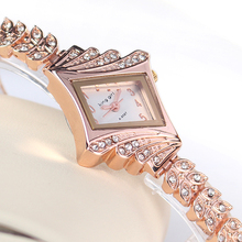Rose Gold Crystal Rhinestone Leaf buds strap Metal Materials Dress ladies Watch Stylish Women Watches Hours Quartz Wristwatches(China)