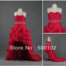 Red Sweetheart Beaded Ruffled Short Front Long Back Wedding Dresses