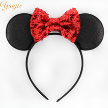 10pcs/lot Minnie Mickey Ear With 4'' Glitter Sequin Bow On Colored Satin Covered Resin Hairbands For Girls Minnie Mouse Hairband