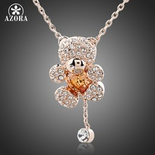 AZORA Cute Girl Rose Gold Color Rhinestones and Heart Shape Zircon Bear Jewelry Necklace TN0093
