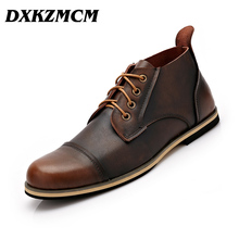 DXKZMCM 2017 Handmade Genuine Leather Men autumn winter Boots, High Quality Winter men boots, ankle martin boots for men(China)