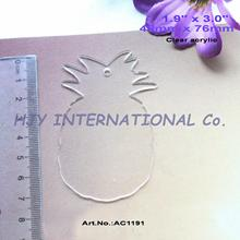 "(20pcs/lot) 76.2mm Clear Blank Acrylic Keychains Pineapple Key Chains Acrylic Tags 3""-AC1191"