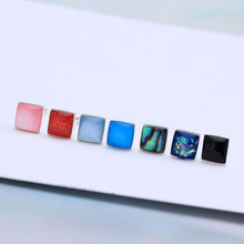 925 sterling silver stud earring for wedding jewelry luxury women square rainbow engagement stud earring new design jewellery