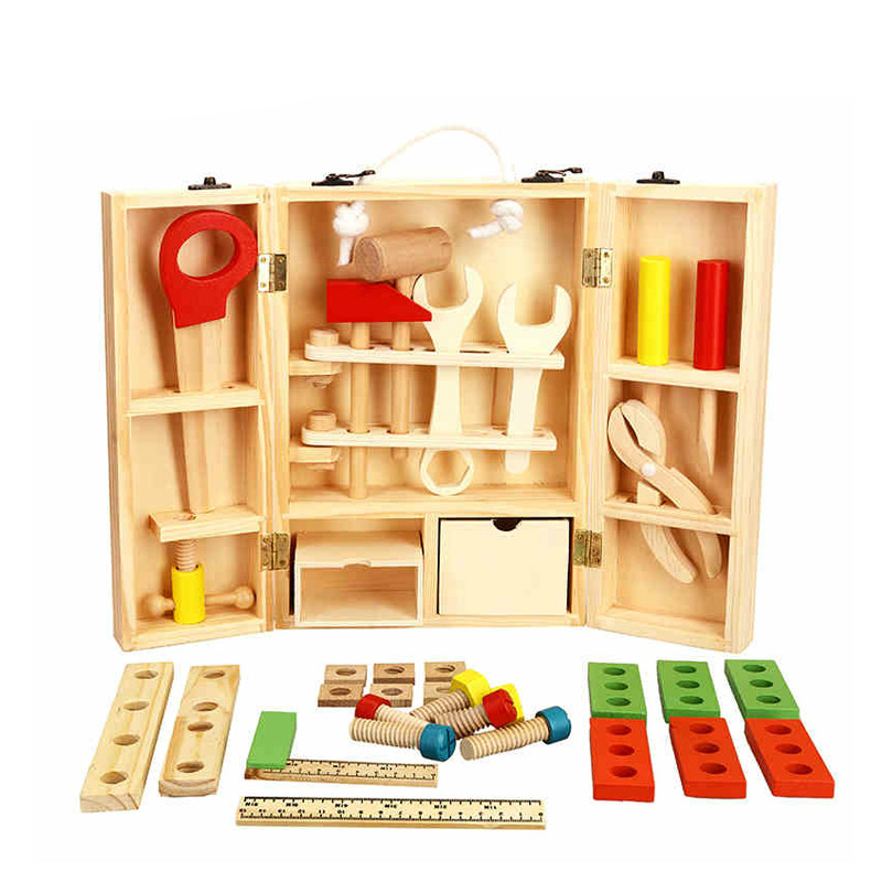 2017 New Child Baby House Children puzzle Wooden Toolbox Service Screw saw Simulation Toolbox Children Toy Nut Toolbox MZ141<br>