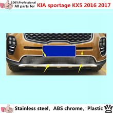 car body styling protect detector stainless steel trim Front up Grid Grill Grille Around 1pcs For Kia Sportage KX5 2016 2017