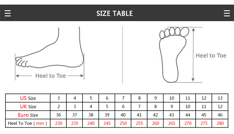 men shoes table3