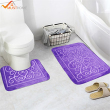 2PCS 3D Pattern Bath Mats and Toilet Set Non Slip Bathroom Mat/Rug(China)