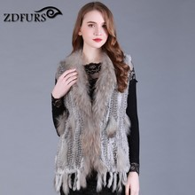 ZDFURS * fashion rabbit fur vest knitted rabbit vest long style for women raccoon fur collar trim fur waistcoat free shipping