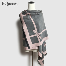 2016 New women stripe and bow cashmere pashmina scarves with tassel lady winter thick wool scarf brand high quality shawl wrap