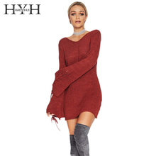 HYH HAOYIHUI 2017 V-Neck Burgundy Sexy Sweater Mini Dress Women Belt Lace Up Flare Long Sleeve Pullovers Knitted Sweaters Dress(China)