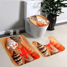 3PCS/Set Soft Non Slip Flannel Bath Mat Toilet Cover Carpet Bathroom Set Seashell Contour Rug Lid Starfish Pedestal Rug BM0602