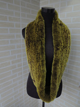 Genuine rex rabbit fur  circle scarf wrap cape  brown with yellow tips