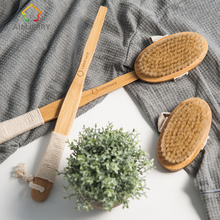 Aimjerry Bathroom Natural Bristle Cleaning Removable Long Handle Wooden Maasage Health Care Bath Body Brush for bath(China)