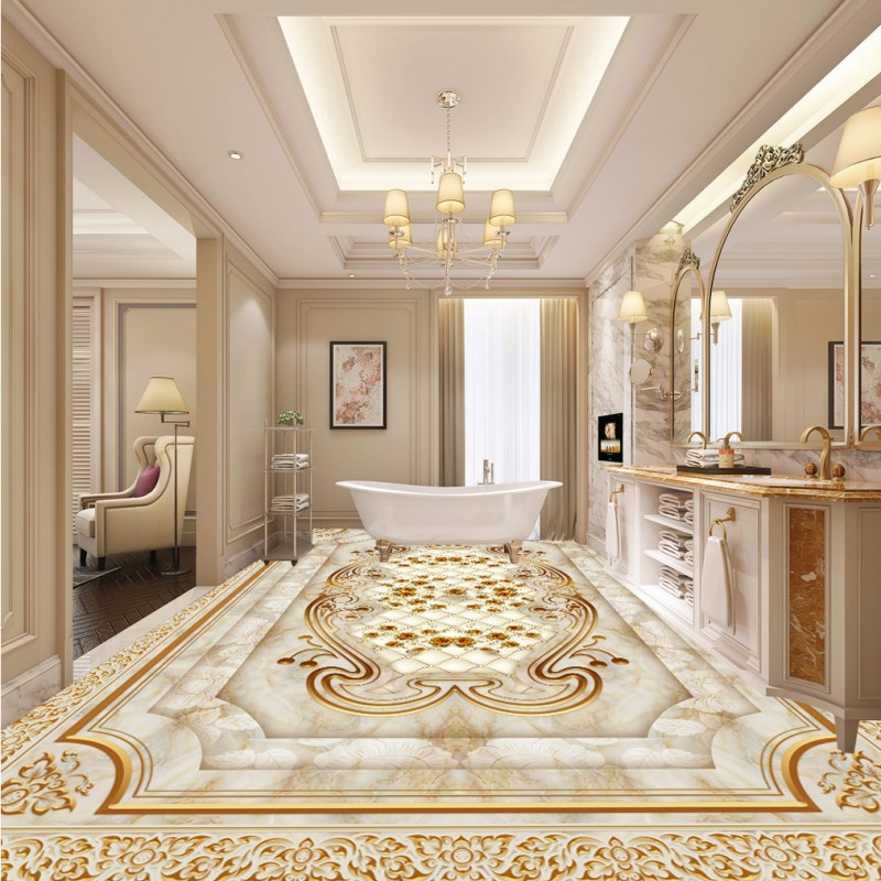 Free shipping custom vintage Marble relief rose wood carving 3D flooring floor baby room living room bathroom wallpaper mural<br>