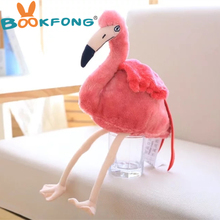 BOOKFONG 30CM Simulation Flamingo Plush Toy Cute Wildlife Bird Stuffed Toy Collection Toy Prop for Teaching Home Shop Decoration