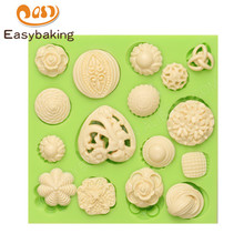 Multiple Shape Silicone Resin Mold Jewelry Design Mould Fondant Cake Decoration Baking Tools Women Brooch Buttons Pattern