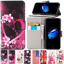 For Apple iPhone 7 PLUS 6 6s Plus SE 5 5S 5C 4 4S phone case pu leather flip stand Wallet Card Slot Painted Butterfly Fly Flower