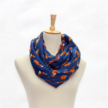 Women Ladies Fox Pattern Print Voile Wrap Shawl Scarf Voile Lightweight Sheer Infinity Print Circle Scarf for Women(China)