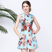 2017 amazing Designer Summer Dress Women's Sleeveless Tank Animal Doggie Rose Floral Print Embroidered Casual Blue Mini Dress(China)