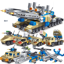 Modern military Thunderbolt front line 8in1 Thunder tank building block model Heavy duty helicopter fighter ship truck brick toy(China)