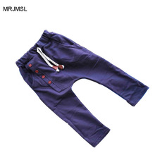 MRJMSL Kids Spring Autumn Clothes children pants for boys trousers girls solid harem pants factory direct sale four buttons 2017