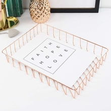 Nordic simple style gold rose gold metal iron desktop collective A4 paper file storage frame hollow storage basket stationary(China)