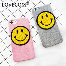 Cartoon Cute Smile Face Emoji Phone Case For iPhone 6 6S Plus 7 7 Plus Soft Fuzzy fiber Plush Back Covers Coque Housing