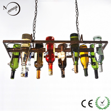 Recycled retro Hanging Wine Bottle led ceiling Pendant Lamps E27 light  for dining room/bar/restaurant Kitchen lighting fixture