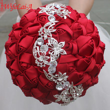 WifeLai-A 1pc Wine Red Rose Silver Butterfly Diamonds Brooch Wedding Bouquet Bridal Mariage Flower Stitch Wedding Bouquet W2216